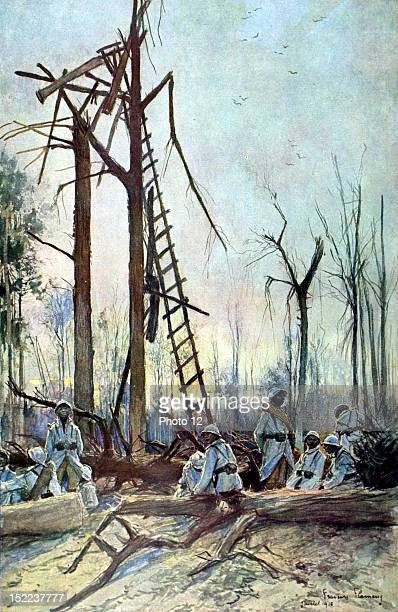 Francois Flameng World War I Battle of the Somme The former German observatory in the Mereaucourt woods Drawing