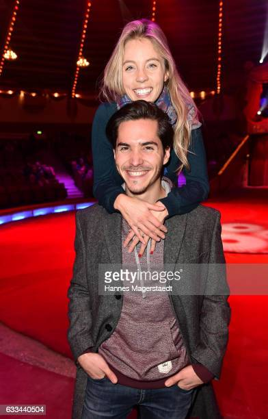 Francois Goeske and his girlfriend Sina Bianca Hentschel during the 'AllezHopp' premiere at Circus Krone on February 1 2017 in Munich Germany