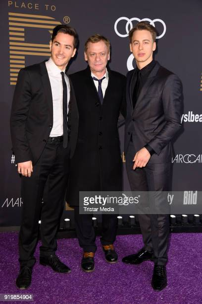 Francois Goeske Sylvester Groth and Timmi Trinks attend the PLACE TO B Party on February 17 2018 in Berlin Germany