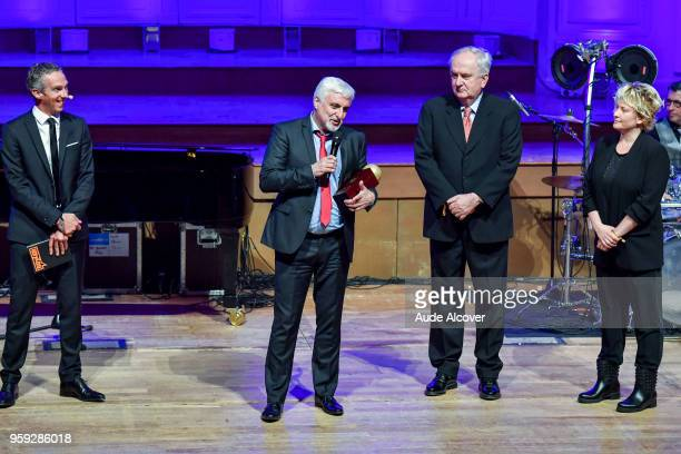 Francois Gomez Bozidar Maljkovic and Marina Maljkovic during the Trophy Award LNB Basketball at Salle Gaveau on May 16 2018 in Paris France