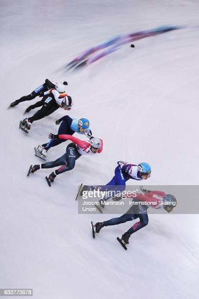 Francois Hamelin of Canada leads the pack in the Men's 1000m quarter finals during day one of the ISU World Cup Short Track at EnergieVerbund Arena...