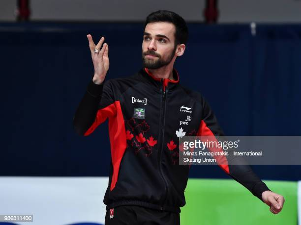 Francois Hamelin of Canada salutes the fans as he announces his retirement during the World Short Track Speed Skating Championships at Maurice...