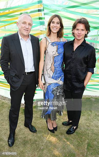 Francois Henri Pinault, Alexa Chung and Christopher Kane attend The Serpentine Gallery summer party at The Serpentine Gallery on July 2, 2015 in...