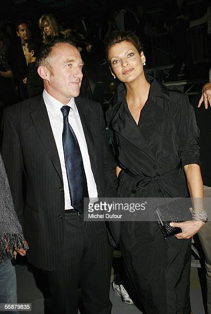 Francois Henri Pinault and Linda Evangelista watches the Alexander McQueen show as part of Paris Fashion Week Spring/Summer 2006 on October 7 2005 in...