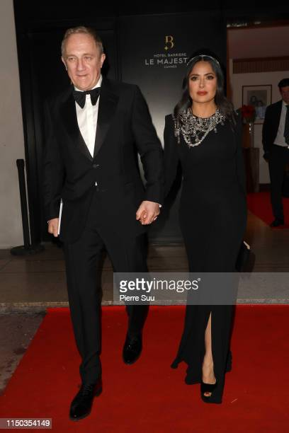 Francois Henri Pinault and Salma Hayek are seen at Le Majestic Hotel during the 72nd annual Cannes Film Festival at on May 19 2019 in Cannes France