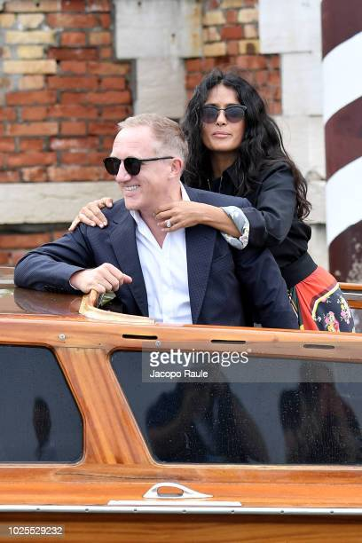 Francois Henri Pinault and Salma Hayek are seen during the 75th Venice Film Festival on August 31, 2018 in Venice, Italy.