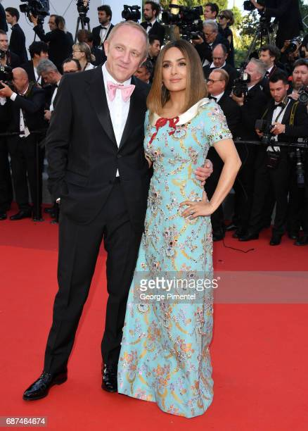 Francois Henri Pinault and Salma Hayek attend the 70th Anniversary screening during the 70th annual Cannes Film Festival at Palais des Festivals on...