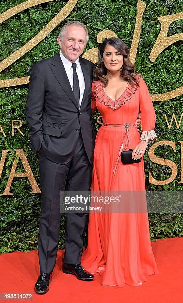 Francois Henri Pinault and Salma Hayek attend the British Fashion Awards 2015 at London Coliseum on November 23 2015 in London England