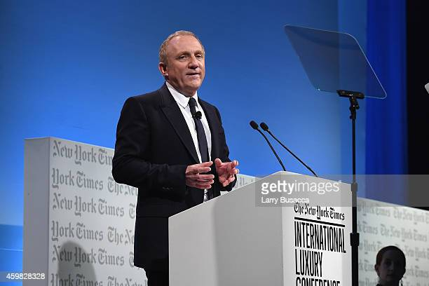 Francois Henri Pinault CEO and Chairman Kering speaks onstage at the The New York Times International Luxury Conference at Mandarin Oriental on...