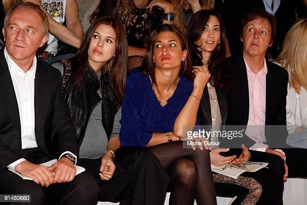 Francois Henri Pinault, Dasha Zhukova, Charlotte Casiraghi, Nancy Shevell and Sir Paul McCartney attend the Stella McCartney Pret a Porter show as...