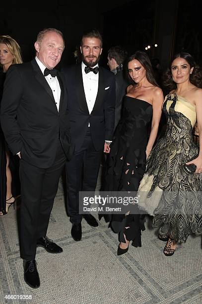 Francois Henri Pinault David Beckham Victoria Beckham and Salma Hayek attend the Alexander McQueen Savage Beauty Fashion Gala at the VA presented by...