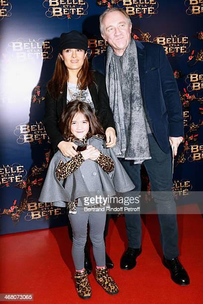 Francois Henri Pinault, his wife actress Salma Hayek and their daughter Valentina Paloma Pinault attend 'La Belle et la Bete' Paris Premiere. Held at...