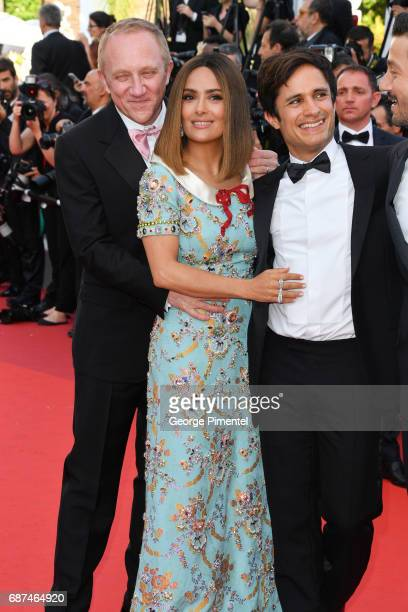 Francois Henri Pinault Salma Hayek and Gael Garcia Bernal attend the 70th Anniversary screening during the 70th annual Cannes Film Festival at Palais...