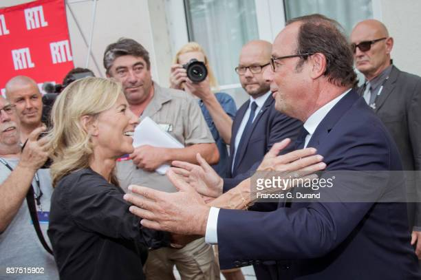 Francois Hollande and Claire Chazal attend the 10th Angouleme FrenchSpeaking Film Festival on August 22 2017 in Angouleme France