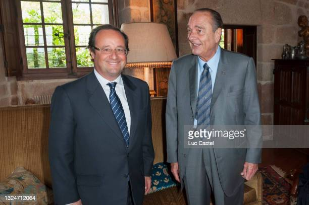 """Francois Hollande and Jacques Chirac after the Opening of the Exhibition """" Tresors de la Collection Meiyintang """" at Chateau de Bity on June 9, 2009..."""