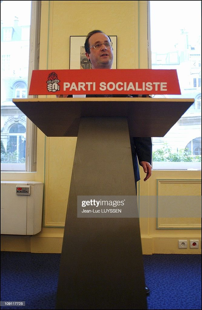 Francois Hollande And Jean Glavany At The Socialist Party Hq The