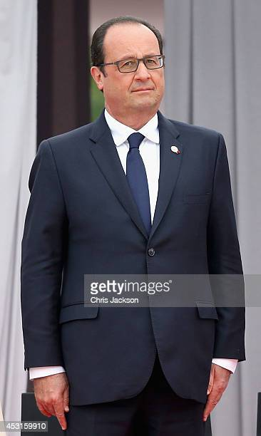Francois Hollande attends a WW1 100 Years Commomoration Ceremony at Le Memorial Interallie on August 4 2014 in Liege Belgium Monday 4th August marks...