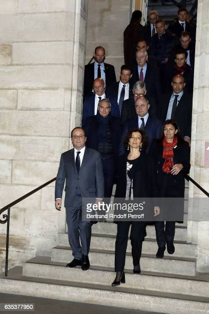 Francois Hollande Audrey Azoulay Anne Hidalgo Dominique Perrault Philippe Belaval and Bruno Le Roux attend Press Preview 'Mission Ile de la Cite Le...