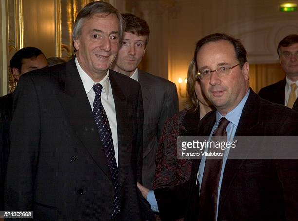 Francois Hollande First Secretary of the French Socialist Party attends a press conference with Argentinian President Kirchner President Kirchner is...