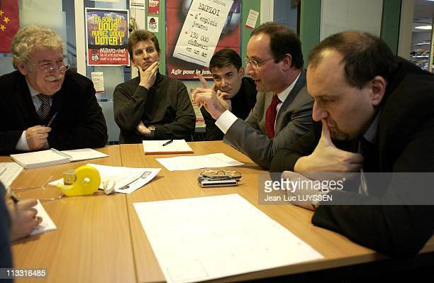 Francois Hollande First Secretary Of The Socialist Party On December 13Th 2004 Francois Hollande And Julien Dray During A Briefing Of The Redaction...