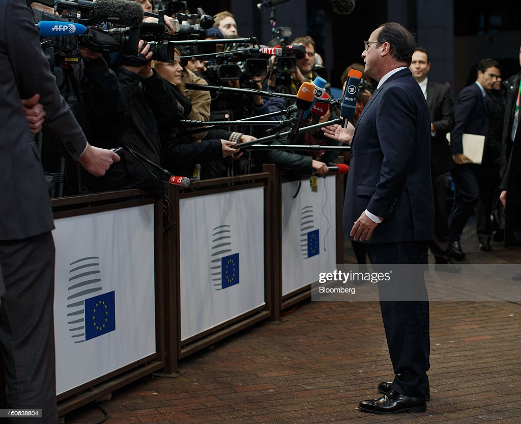 Francois Hollande, France's president, arrives for a European Union (EU) summit meeting in Brussels, Belgium, on Thursday, Dec. 18, 2014. The EU outlawed the sale of some energy-exploration equipment to Crimea, seeking to prevent Russia from using the newly annexed Ukrainian peninsula to exploit Black Sea oil and gas deposits. Photographer: Jasper Juinen/Bloomberg via Getty Images