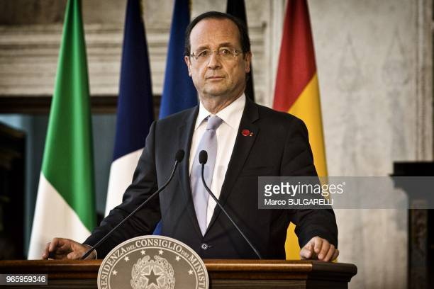 Francois Hollande France's president during the press conference after the quadrilateral meeting at Villa Madama on June 22 2012 in Rome in Italy