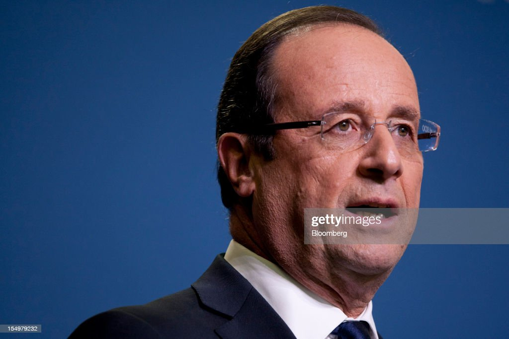 Francois Hollande, France's president, speaks during a news conference following a meeting hosted by the Organization for Economic Cooperation and Development (OECD) in Paris, France, on Monday, Oct. 29, 2012. Hollande said he wants the euro group of finance ministers to find a 'durable' solution to Greece's debt problems at their November meeting. Photographer: Balint Porneczi/Bloomberg via Getty Images