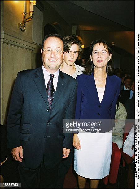 Francois Hollande his wife 'Segolene Royal' and their son at the preview of the play 'Petits Crimes Conjugaux' at the Edouard VII theater woman man...