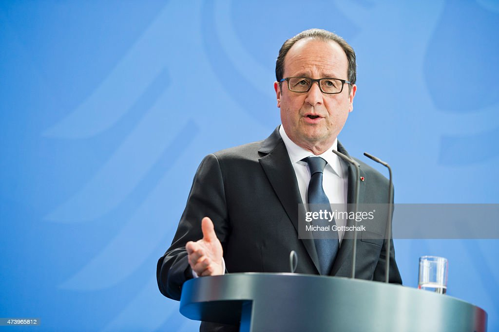 Francois Hollande, President of France, attends a press conference in german chancellery on May 19, 2015 in Berlin, Germany. Holland attends Petersberg Climate Dialogue Conference or Petersberger Klimadialog in Berlin.