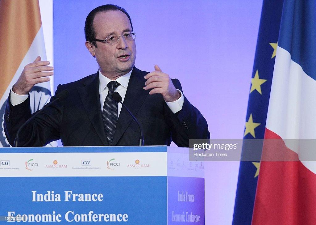 H.E. Francois Hollande, President of the French Republic speaking on strengthening long-term economic partnership between India and France at Taj Mahal Palace, Colaba on February 15, 2013 Mumbai, India.