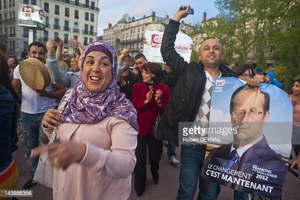 Francois Hollande's supporters celebrating socialist victory on May 6 2012 in Lyon France Socialist Francois Hollande has defeated incumbent...