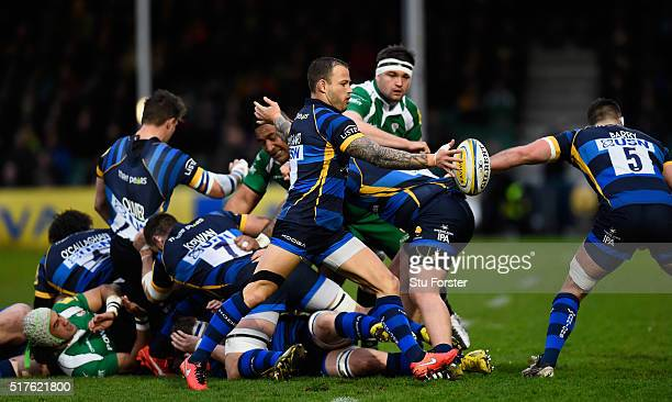Francois Hougaard of Worcester clears his lines during the Aviva Premiership match between Worcester Warriors and London Irish at Sixways stadium on...