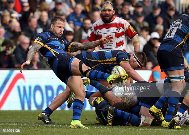 Francois Hougaard of Worcester Warriors kicks from a ruck against Gloucester Rugby during the Aviva Premiership match between Worcester Warriors and...