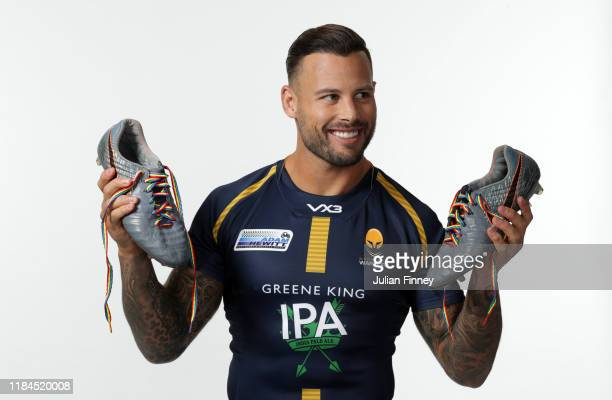 Francois Hougaard of Worcester Warriors poses for a portrait with rainbow laces on his boots in support of the Stonewall Rainbow Laces Campaign...