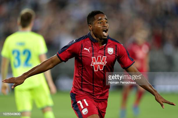 Francois Kamano of Bordeaux celebrates after scoring a goal during the Europa League play off second leg between Grondins de Bordeaux and KAA Gent on...