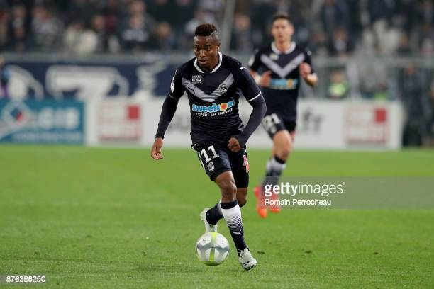 Francois Kamano of Bordeaux in action during the Ligue 1 match between FC Girondins de Bordeaux and Olympique Marseille at Stade Matmut Atlantique on...