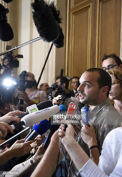 Francois Lambert the nephew of a 38yearold tetraplegic man in a vegetative state speaks to the press at the State Council hearing room after France's...