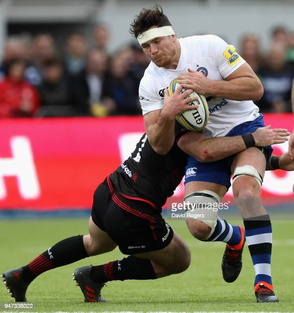 Francois Louw of Bath is tackled during the Aviva Premiership match between Saracens and Bath Rugby at Allianz Park on April 15 2018 in Barnet England