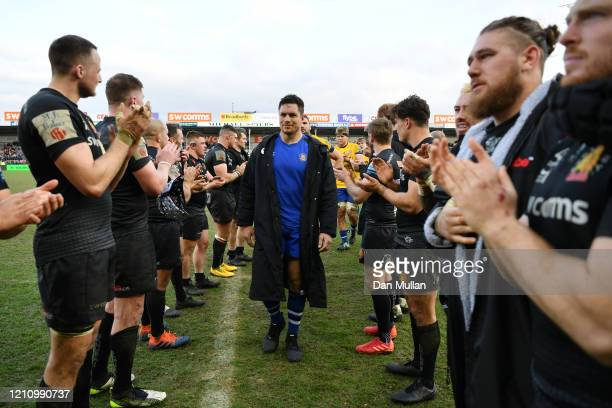 Francois Louw of Bath leads his team off the field following their defeat during the Gallagher Premiership Rugby match between Exeter Chiefs and Bath...