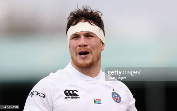 Francois Louw of Bath looks on during the Aviva Premiership match between Saracens and Bath Rugby at Allianz Park on April 15 2018 in Barnet England