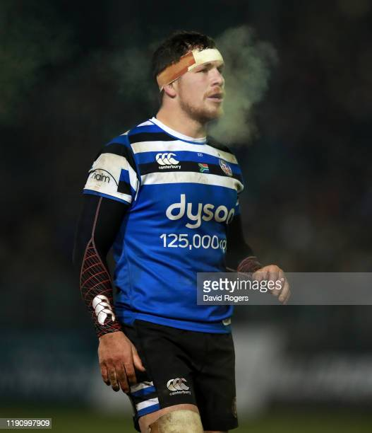 Francois Louw of Bath looks on during the Gallagher Premiership Rugby match between Bath Rugby and Saracens at the Recreation Ground on November 29...