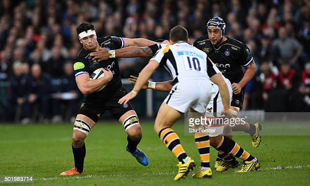 Francois Louw of Bath makes a break during the European Rugby Champions Cup match between Bath Rugby and Wasps at Recreation Ground on December 19...