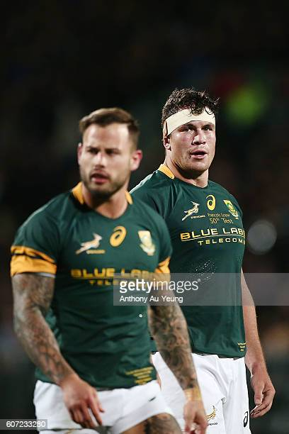 Francois Louw of South Africa looks on during the Rugby Championship match between the New Zealand All Blacks and the South Africa Springboks at AMI...