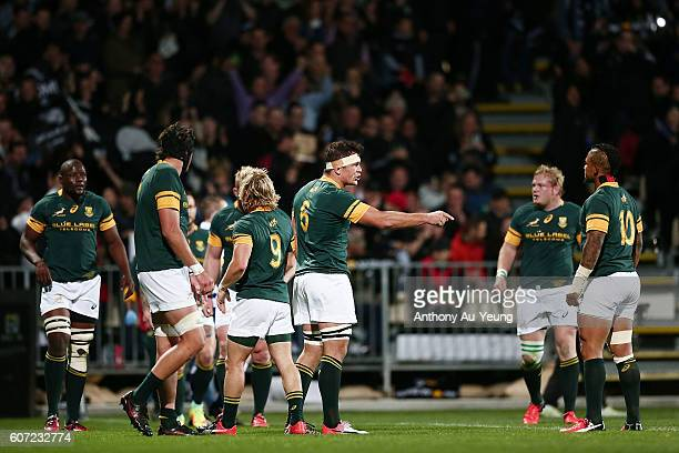 Francois Louw of South Africa makes himself heard after his team conceded a try during the Rugby Championship match between the New Zealand All...