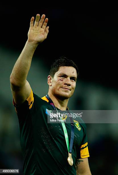 Francois Louw of South Africa salutes the crowd after victory in the 2015 Rugby World Cup Bronze Final match between South Africa and Argentina at...