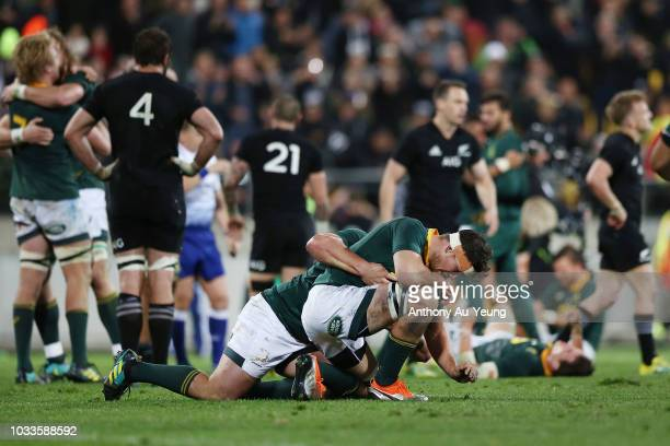 Francois Louw of the Springboks reacts after winning The Rugby Championship match between the New Zealand All Blacks and the South Africa Springboks...