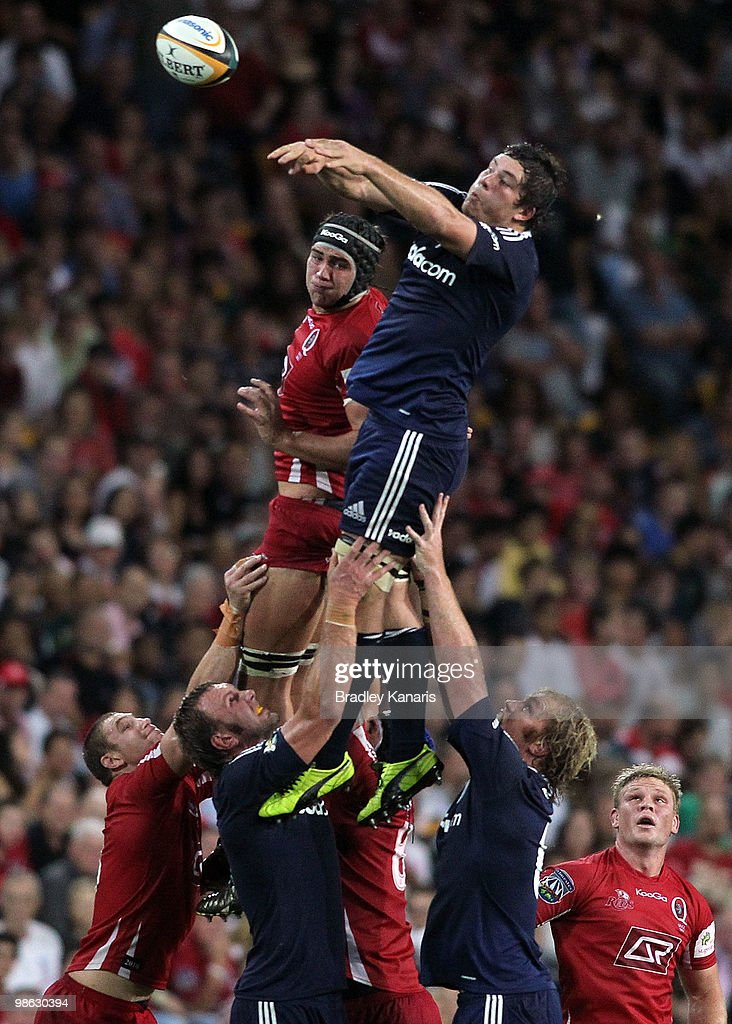 Francois Louw of the Stormers and Rob Simmons of the Reds compete at the lineout during the round eleven Super 14 match between the Reds and the Stormers at Suncorp Stadium on April 23, 2010 in Brisbane, Australia.