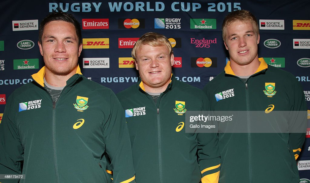 Francois Louw with Adriaan Strauss and Pieter-Steph du Toit during the 2015 Rugby Wolrd Cup Springboks media briefing at the Grand Eastbourne Hotel Eastbourne on September 14, 2015 in Eastbourne, England.