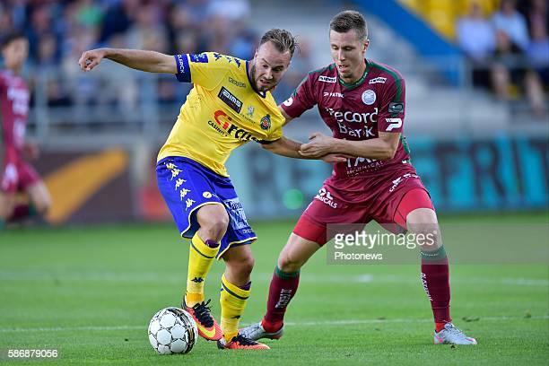 Francois Marquet midfielder of Beveren is challenged by Lukas Lerager midfielder of SV Zulte Waregem during the Jupiler Pro League match between...