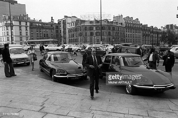 Francois MiTerrand arriving at the Tour Montparnasse's headquarters in Paris France on May 20th 1974 Francois Mitterrand getting out of a Citoen DS...